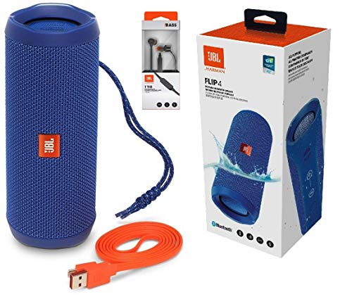 JBL Flip 4 Portable Bluetooth Speaker with Rechargeable Battery, Waterproof, Siri and Google Compatible – Blue…