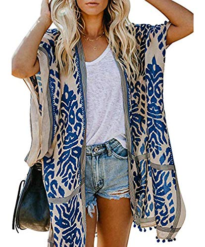 Women Kimono Swimsuit Cover Up Cardigan - Black Elephant Chiffon Print Swimwear Beach Bathing Bikini Coverup Boho Batwing Loose Tops Outwear Kimono Dress Plus Size Loose Sleeve Shaw Graffiti