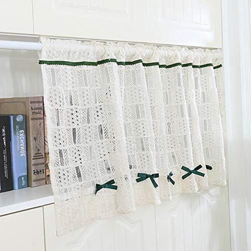 HXSM おしゃれな 目隠し 刺繍 カフェカーテン ホワイト キッチン カーテン 綿 ハーフカーテン 花の形の中空 ショートカーテン 小窓用 飾り