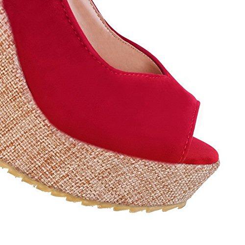 AllhqFashion Mujeres Sólido Peep Velcro Plataforma y Cuña Rojo