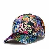 Quanhaigou Printed Baseball Cap,Colorful Graffiti Unisex Snapback Flat Bill Dancing Hip Hop Hats (Blue Eyes)
