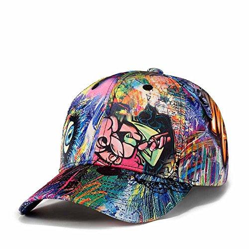 Quanhaigou Printed Baseball Cap,Colorful Graffiti Unisex Snapback Flat Bill Dancing Hip Hop Hats (Blue - Graffiti Clothes