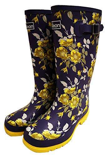 (Jileon Wide Calf All Weather Durable Rubber Rain Boots for Women-Fits Calf Sizes Up to 18 Inches (7 W (Wide) US, Yellow Floral))