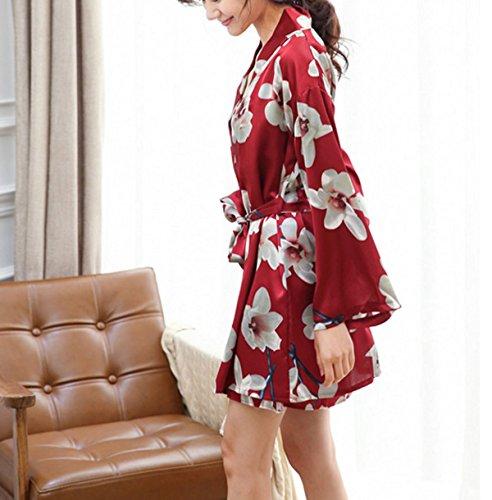 2017 Tirantes Atractivo Del Kimono Floral De Dos Piezas Casual De Manga Larga Pijamas Camisón Red
