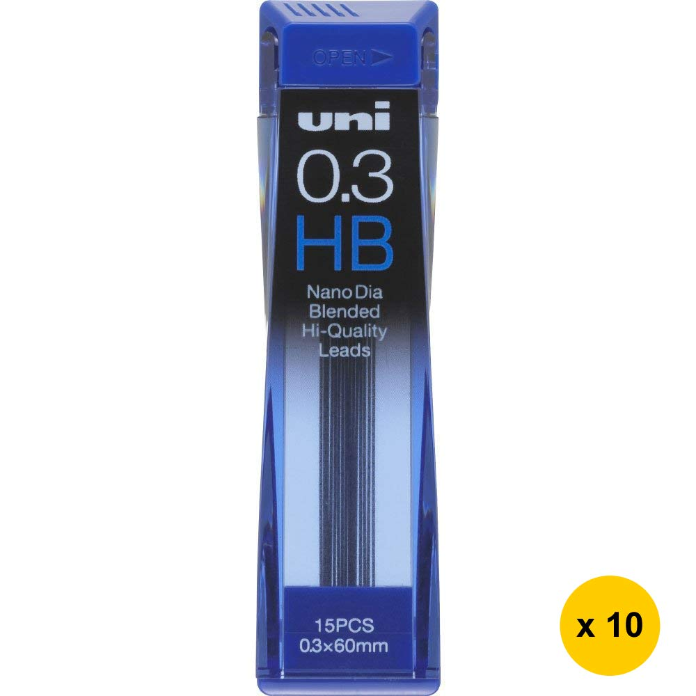 Uni Nano Dia UNI0.3-202ND 0.3mm HB Refill Leads (Pack of 10) (with Free 5-Color Sticky Notes)