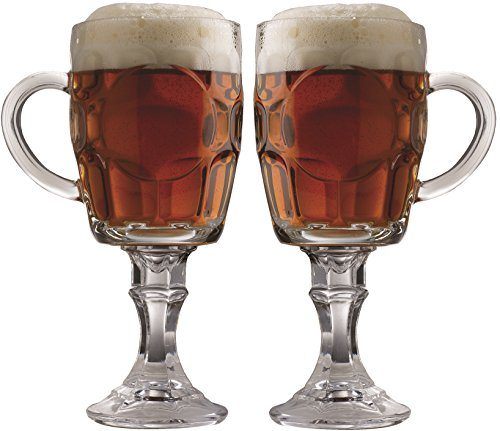 - Circleware Uptown Set of 2 Footed Clear Heavy Base Beer Glasses-Mugs with Handles, Huge 20 Ounce