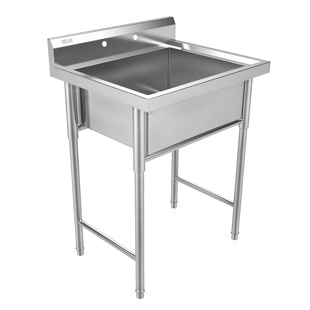 Bonnlo Commercial Grade Stainless Steel Utility Sink Restaurant Sink Laundry Tub for Washing Room, Kitchen, Workshop, Basement, Garage, Restaurant - 21.5''L x 18''W x 9''D Inner Tub Size