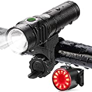 Te-Rich Bike Lights USB Rechargeable, LED Cycling Light Front and Back, 800 Lumen Headlight Flashlight and Rea