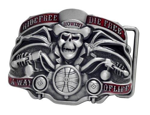 Buckle Rage Mens Ride Free Die Free Biker Belt Buckle Silver Red (Biker Buckle)