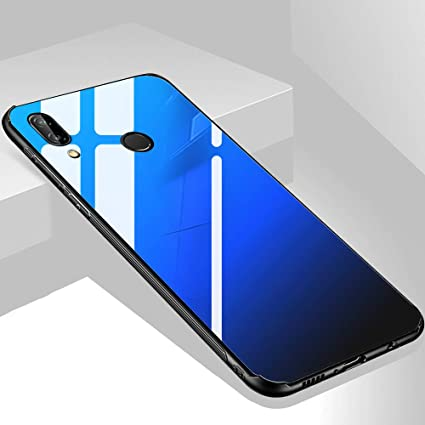 the best attitude 024b1 f5d2e TheGiftKart Luxurious Toughened Glass Back Case with Shockproof TPU Bumper  Back Case Cover for Honor 8X (Blue & Black)