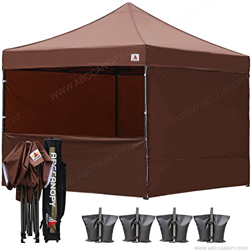 ABCCANOPY 23+Colors Commercial 10x10 Instant Canopy Craft Display Tent with Wheeled Carry Bag & Full Walls, Bonus 4X Weight Bag & 10ft Screen Wall & 10ft Half Wall (Brown)