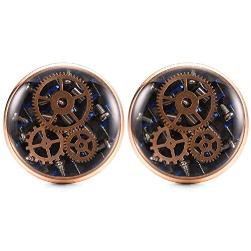 THREE KEYS JEWELRY Mens Steampunk Cufflinks Vintage Real Recycled Rose Gold Watch Movement Blue Carbon Fiber Cuff Link for Men Wedding Shirt Groom Father from THREE KEYS JEWELRY