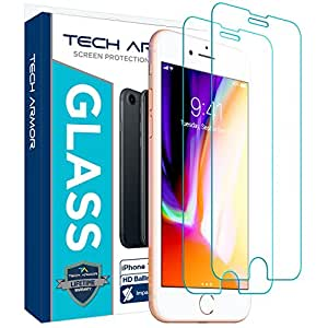 """Tech Armor Apple iPhone 6/6S, iPhone 7, iPhone 8 (4.7"""") Ballistic Glass Screen Protector - 99.99% Clarity and 3D Touch Accuracy [2-Pack]"""