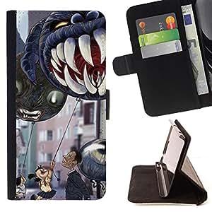 TEETH CHILDREN'S HALLOWEEN MONSTER JAWS/ Personalizada del estilo del dise???¡Ào de la PU Caso de encargo del cuero del tir????n del soporte d - Cao - For Samsung Galaxy S4 Mini i9190