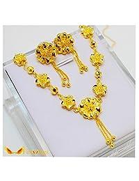 Firewings 24K Real Yellow Gold Filled Necklace Earrings Flowers Link Set Women Wedding Jewelry
