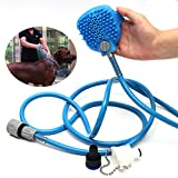 Pet Dog Puppy Cat Multifunction Bath Shower Handheld Sprayer Brush Grooming Tool for Dogs and Cat,Indoor/Outdoor Use with 7.5 Foot Hose and 2 Hose Adapters