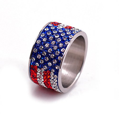 None American Flag Stainless Steel Rings for Women Rhinestones Charms Crystal Jewelry (8)