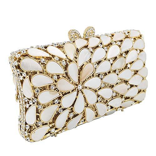 BuyBuyBuy Fashion Metal Crystal Rhinestone Flower Decoration Banquet Evening Bag