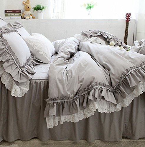 Lotus Karen Lotus Karen Alina Gray Girl Bedding Set Luxurious Ruffles with Embroidered Lace Princess Bed Set Heavy-Duty Natural Cotton Girl Bedding for Girls Including 1Duvet Cover 1Bedskirt 2Pillowcases price tips cheap