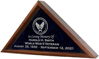 product image for All American Gifts Military Funeral Burial Flag Display Case w/Military Emblem - Includes 4 Lines of Text Personalization - for 5x9.5 Coffin Flag - Solid Walnut Wood (Navy Emblem)