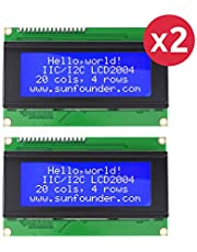 SunFounder LCD2004 Module with 3.3V Backlight for Arduino R3 Mega2560 Raspberry Pi Display of 20x4 White Characters on Blue Background