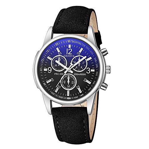 XGUMAOI Fashion Faux Leather Wirst Watch Mens Blue Ray Glass Quartz Analog Watches Clock (G)