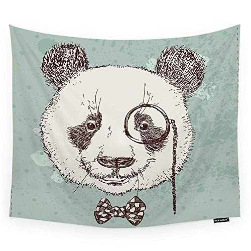 (HGOD DESIGNS Panda Tapestry Wall Hanging Vintage Panda Bear with Glasses and Bow Sketch Design Room Decorative Wall Tapestry for Men/Women/Girl/Boy Polyester 60