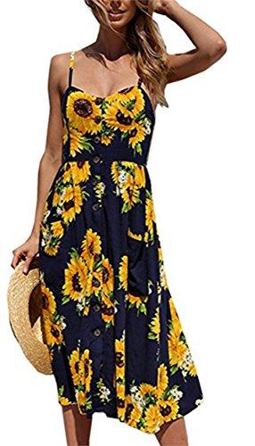 Amk Pocket - Molisry Women Summer Spaghetti Strap Floral Print Button Down Swing Midi Dress with Pocket