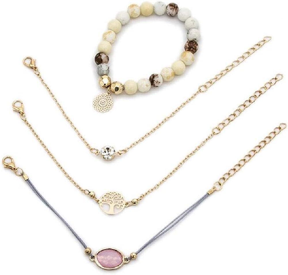 STRASS & PAILLETTES Conjunto de 4 Pulseras de Piedra con rosetón Dorado. Pulsera árbol de la Vida. Pulsera de Cristal Rosa. Pulsera de Diamante Solitario