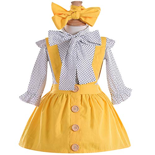 Kids Baby Girl 3pcs Outfits Polka Dot Ruffles Sleeve Bowknot Shirt Top+Suspender Braces Skirt Overalls with Headband (Long Sleeve, 3-4 Years)