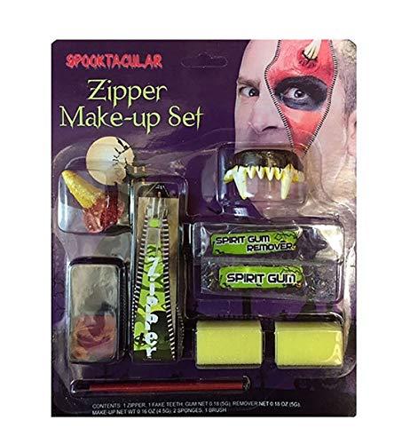 Rimi Hanger Halloween Scary Assorted Zipper Casket Vampire Makeup Face Paint Kit Accessory Assorted Zipper Kit One Size ()