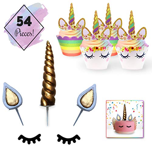Unicorn Cake & Cupcake Topper Decoration Set - 24 Double Sided Cupcake Wrappers and 24 Toppers. Unicorn Cake Toppers: Handmade Horn, Ears and Eyelashes. Kids Birthday Theme Party, Baby Shower