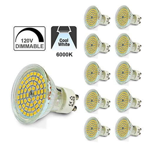 GU10 120V Dimmable Spot Light Bulbs, SENWIZ LED 4W=40W Halogen, 120° Beam Angle, Recessed and Track Lighting (10-Pack, Cool White)