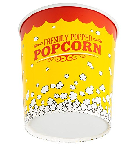 (130 oz. Popcorn Bucket Cup, Yellow Red Retro Style (25 Buckets) by -  Carnival King)