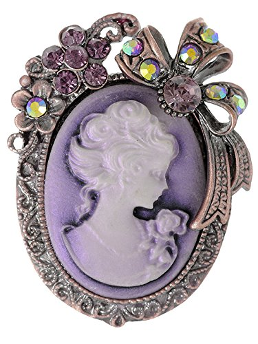 - Alilang Vintage Inspired Rhinestone Victorian Lady Cameo Brooch Pin Flower Ribbon Bow Pendant Lavender Purple