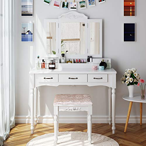HOMECHO Makeup Vanity Table Set, Removable Tri-Folding Mirror and 8 Jewelry Necklace Hooks with 7 Drawers and 6 Makeup Organizers Dressing Table with Cushioned Stool Bedroom White Color, HMC-MD-011 (Vanity Bedroom Table Drawers With)