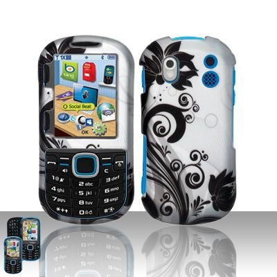 Samsung Phone Faceplates - Rubberized Silver Black Vine Flower Snap on Design Case Hard Case Skin Cover Faceplate for Samsung Intensity 2 U460