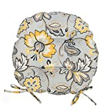 Set of 2 16'' Outdoor Round Bistro Chair Cushions Seat Pads With Ties Yellow Gray Floral
