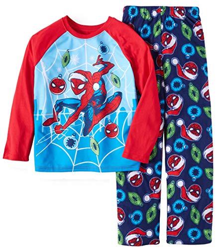 Marvel Spider-Man Christmas Boys 2 Piece Pajama Set (Small / 6-7) Blue