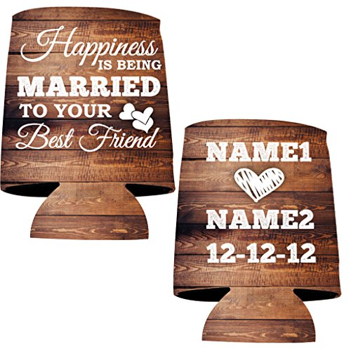 "VictoryStore Can and Beverage Coolers: ""Happiness is being Married To Your Best Friend"" Wedding Can Coolers - 50pc"