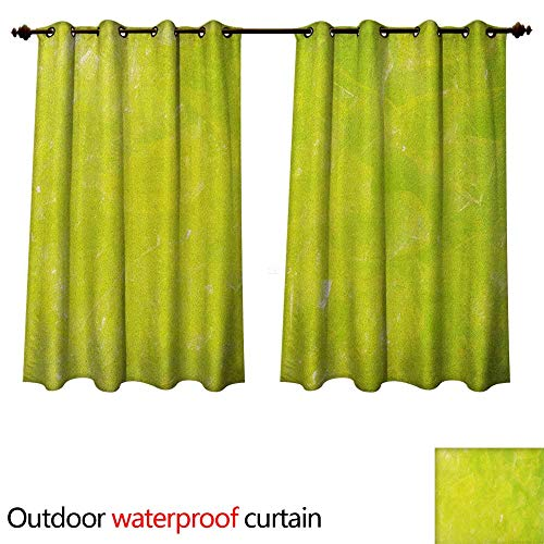 Anshesix Lime Green Outdoor Balcony Privacy Curtain Grunge Hazy Color Background with Scattered Blurry Shade Effects Mystic Print W55 x L45(140cm x 115cm)