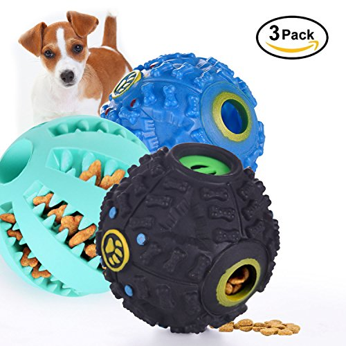 Letcome Dog Toy Balls for Puppy and Small Medium Dog/Pets Tooth Cleaning/Chewing/Playing/Treat Dispensing, Rubber Durable Tough IQ Toys Dog Treat Ball to Increases IQ and Mental Stimulation (3 pack)