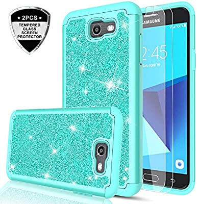 bd94334e4 Galaxy J7 Aero/J7 Top/J7 Crown/J7 Aura/J7 Refine/J7 Eon/J7 Star Glitter Case  with HD Screen Protector for Girls Women,LeYi Bling Shockproof Protective  Phone ...