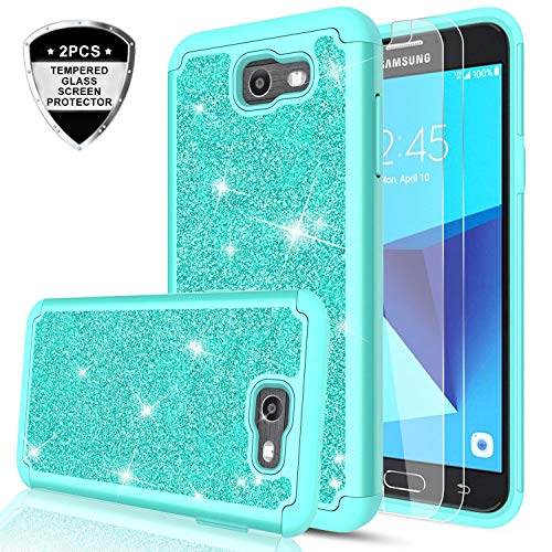 Galaxy J7 Perx Case, (Not fit J7 2018) J7 Prime / J7 V/ J7 Sky Pro/Halo Glitter Case with Tempered Glass Screen Protector [2 Pack], LeYi Hybrid Heavy Duty Phone Case for Samsung J7V 2017 TP Mint