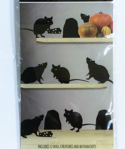 Wall Creatures Halloween Door Decoration, RAT [12 units] Silhouette / Cutout 3D Effect.