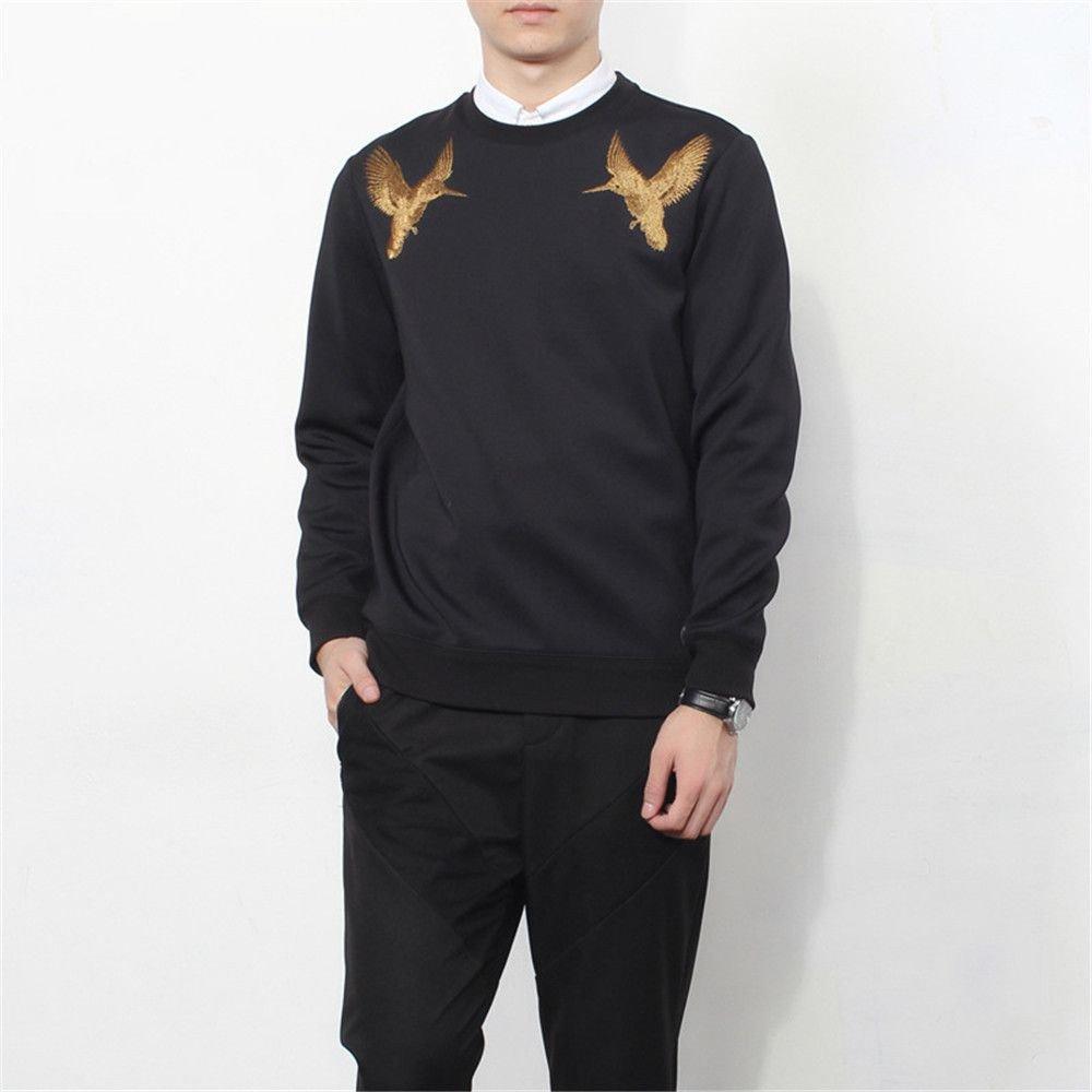 Lisux männliche Kapuzenpullis goldembroidery kolibri männlichen Hoodies Pullover,schwarz,XL