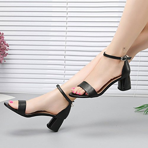 De Femme Mot Boucle Sauvage Mi Boucle Perle Talon Black Ronde en pour Tête Sandales Cuir Mode 4wqfOFOg