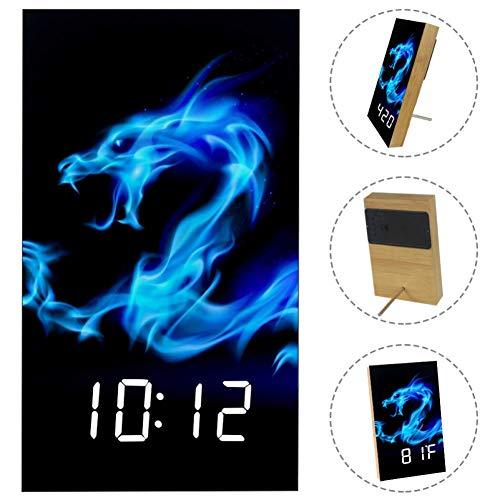 - Firing Blue Dragon Digital Wooden LED Alarm Clock for Home, Dormitory, Office