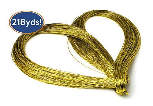 Bastex Metallic Gold String 656 Feet (218 Yards). Gold Cord for Jewelry, Thread for DIY Arts and Crafts, Twine for Gift Wrapping, Gifts, Wedding Decorations and More. -