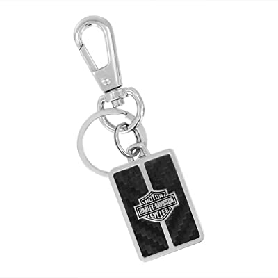 HARLEY-DAVIDSON Bar & Shield Carbon Fiber Vinyl Inlay Key Chain (Black/Rectangle): Automotive